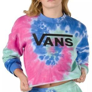 VANS Tie Dye Logo Crop Crew Sweatshirt